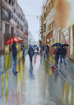 Tammy Phillips - Rainy Day In Rome 2 Watercolor on Paper, Paintings