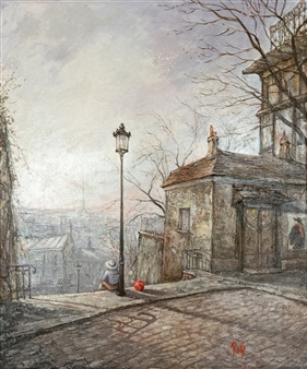 Rody - Morning in Montmartre Oil on Canvas, Paintings