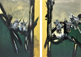 Patricia Queiruga - Euforia (diptych) Acrylic on Canvas, Paintings