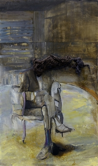 Marina Maltezou - On One's Tod Oil & Mixed Media on Wood, Mixed Media