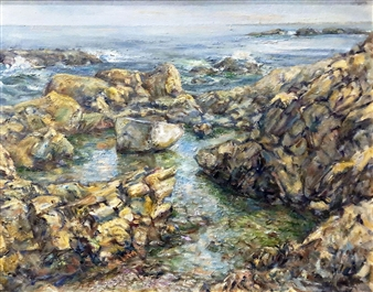 James Chisholm - Bass Rocks, East Gloucester Oil on Canvas, Paintings
