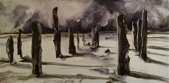 D. L. Brabander - Standing in Isolation I Watercolor on Canvas, Paintings