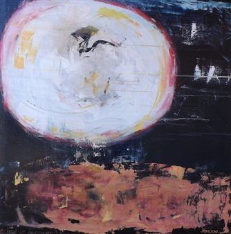 Joan Criscione - Are You There Mixed Media on Canvas, Mixed Media