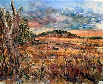 James Chisholm - Ipswich Marsh, Crane Estate, Ipswich Watercolor on Paper, Paintings