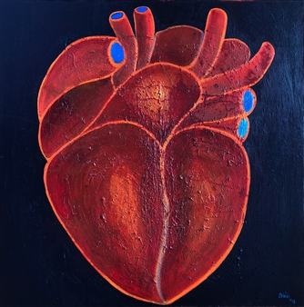 Mehdi Oveisi - Heart I Mixed Media on Canvas, Mixed Media