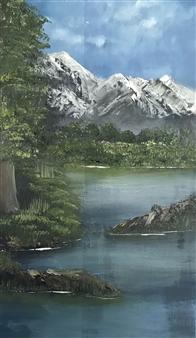 Tsila Mackay - Mountain Hike Oil on Canvas, Paintings