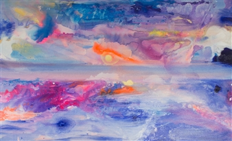 Abigail Custis - Early Morning Run Acrylic & Mixed Media on Canvas, Mixed Media