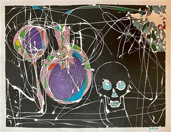 Ignatius - Skull and Wine Acrylic on Paper, Paintings
