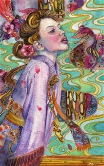 Yuki Goodman - Beautiful Moment Watercolor & Ink on Paper, Paintings