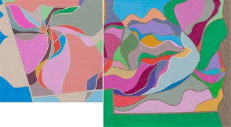 Ai-Wen Wu Kratz - Étude (diptych) Acrylic on Canvas, Paintings