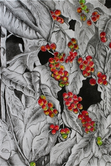 Maria Antonia Mena Lagos - Harvesting Time in Red Dry-Point, Watercolor on Cotton Paper, Prints