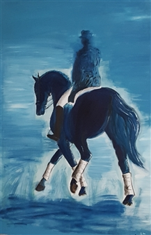 Anna Weichert - Rider in Blue Oil on Canvas, Paintings