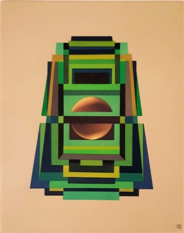 Theo Golb - Transient Module 3 (Jade - Mexican Inspiration) Acrylic on Canvas, Paintings