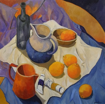Stefano Puleo - Still Life with Oranges Oil on Linen, Paintings