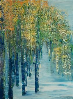Zvia Merdinger - Trees in Orange Mixed Media on Canvas, Mixed Media