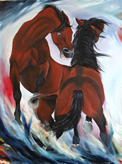 Mileidy Plata - Fight Oil on Canvas, Paintings