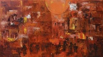 Vasant Dora - Dawn Oil on Canvas, diptych, Paintings