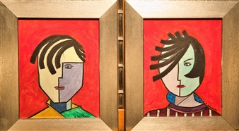 Aila Snickars - Him and Her Acrylic on Canvas, Paintings