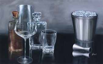 JANINA Leigue - Bourbon Time 2 Oil on Canvas, Paintings