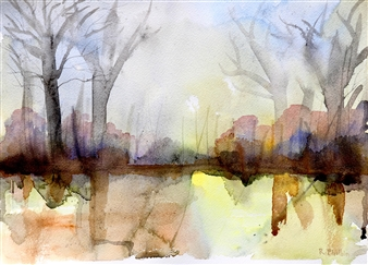 Rine Philbin - Across the Park Watercolor on Paper, Paintings