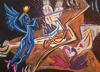 Benjamin L.M. - Glory And Love Acrylic, Oil & Oil Stick on Canvas, Paintings