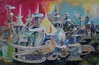 Dan Aug - Alien Metropolis Oil on Cardboard, Paintings