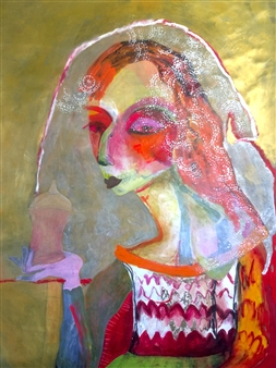 Melanie Young - The Keeper of Secrets Acrylic & Oil on Paper, Paintings
