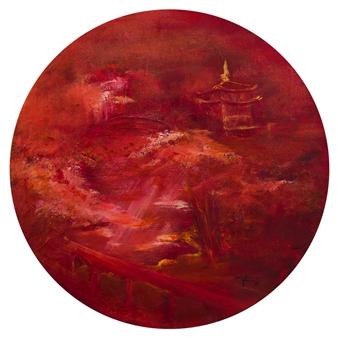 Gordana Tomic - Japanese Garden Oil on Canvas, Paintings