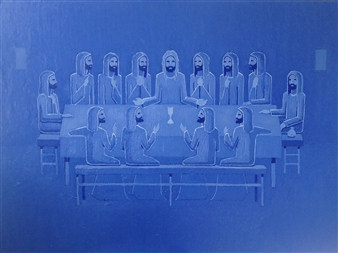 Mario España - Last Supper Oil on Canvas, Paintings