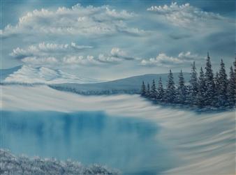 Hezekiah Baker Jr. - Blue Frozen Pond Acrylic & Oil on Canvas, Paintings