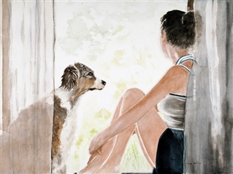 Nancy Holleran - Dog Adoration Watercolor on Arches, Paintings