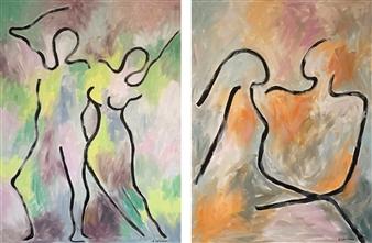 Aila Snickars - The Couple Acrylic on Canvas, Paintings