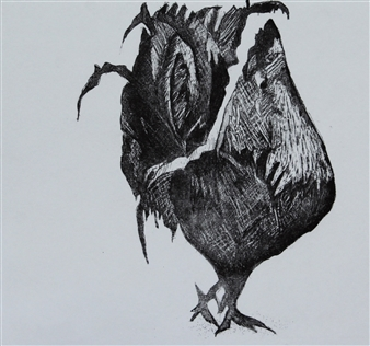 Maria Antonia Mena Lagos - Handsome Rooster Dry-Point on Cotton Paper, Prints
