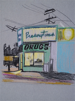 Clare Holzer - Sun Lake Drugs Oil Pastel on Paper, Drawings