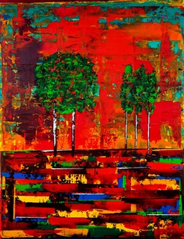 Noel Ortiz - Tropical Landscape in Red Acrylic on Canvas, Paintings