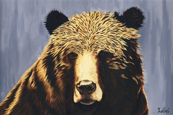 Leilani - Grizzly Bear Portrait Acrylic on Canvas, Paintings