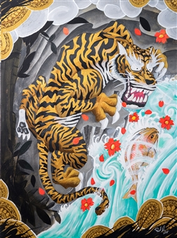 Mirco Pasqualini - The Golden Tiger Acrylic on Canvas, Paintings