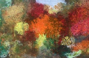 Jodi DeCrenza - Autumn in New York Acrylic & Oil on Canvas, Paintings