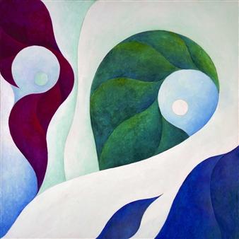 Jerry Anderson - Aegean Coast Acrylic on Canvas, Paintings
