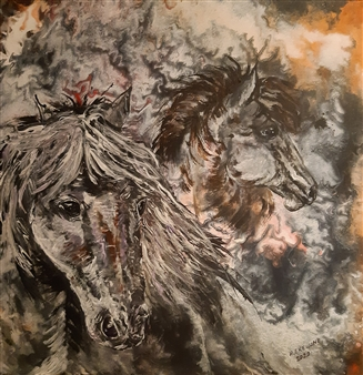 Anders Ekelund - The Two Horses Acrylic & Oil on Canvas, Paintings