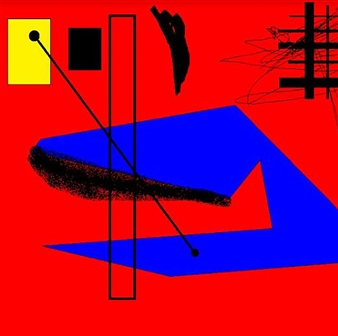 Silajit Ghosh - Blue and Yellow in Debate Over Red Digital Artwork on Canvas, Digital Art