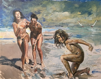Alexandr Mischan - Laughter Tempera on Paper, Paintings