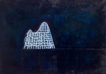 Akihito Izumi - Night Walk-2 Oil on Canvas, Paintings