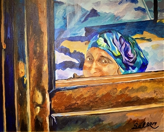 Sal Ponce Enrile - Woman on a Train Acrylic on Canvas, Paintings