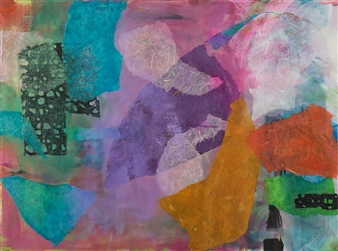 Wendy Yeager - Floating Layers Acrylic & Mixed Media on Canvas, Mixed Media