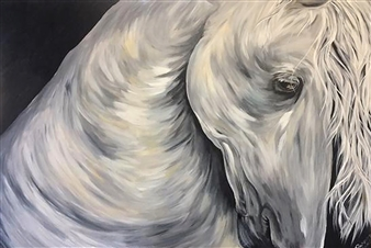 Rosemery Torres - Silver  Horse Acrylic on Canvas, Paintings