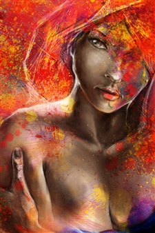 Marc Tremblay - Shades of Red Digital Artwork on Canvas, Digital Art