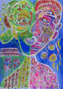Anna K Art Katja van den Bogaert - You and Me Acrylic on Linen, Paintings