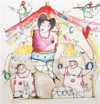 Ilaria Castagnacci - The Circus Watercolor & Ink on Paper, Paintings