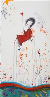 Ilaria Castagnacci - Until the Moon Watercolor & Ink on Paper, Paintings